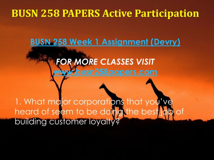 BUSN 258 PAPERS Active Participation
