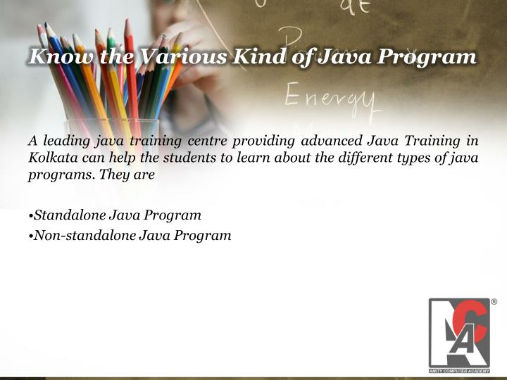 Know the Various Kind of Java Program