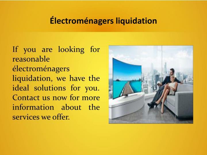 Électroménagers liquidation