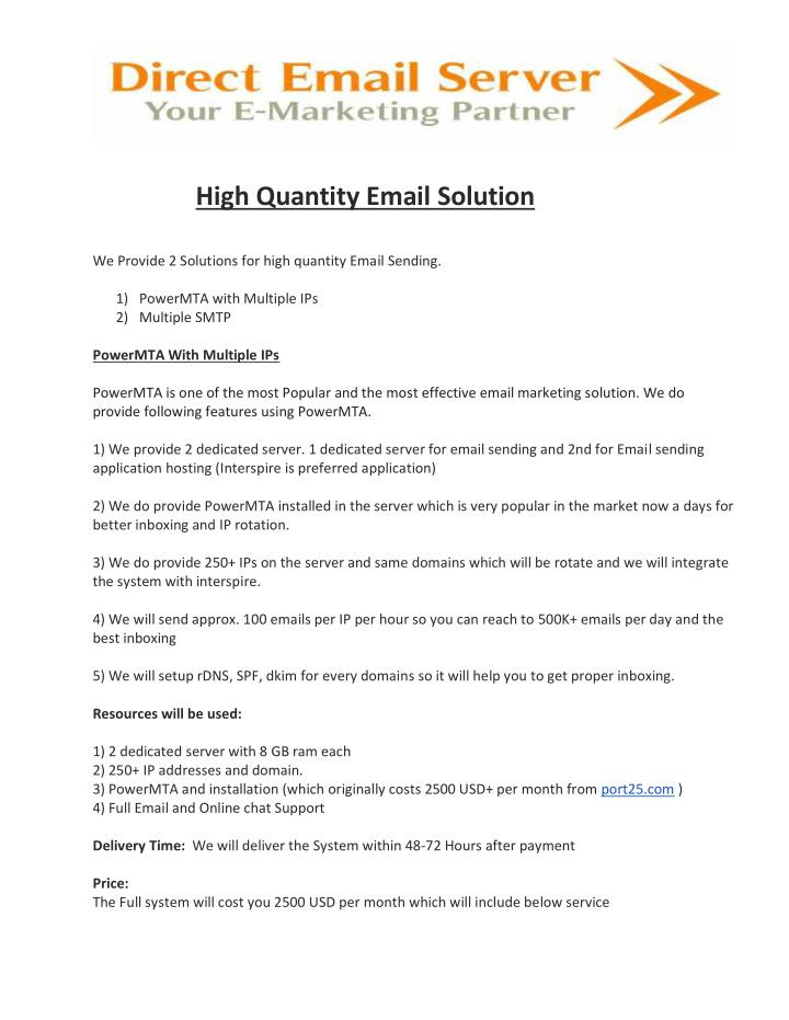 High Quantity Email Solution