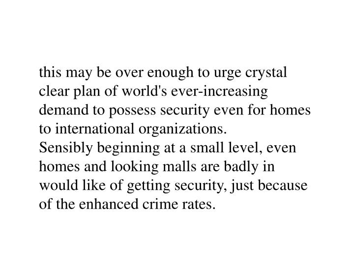 this may be over enough to urge crystal clear plan of world's ever-increasing demand to possess security even for homes to international organizations.