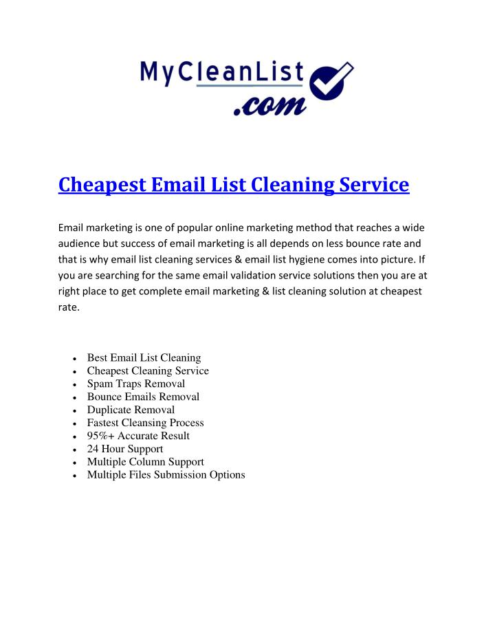 Cheapest Email List Cleaning Service