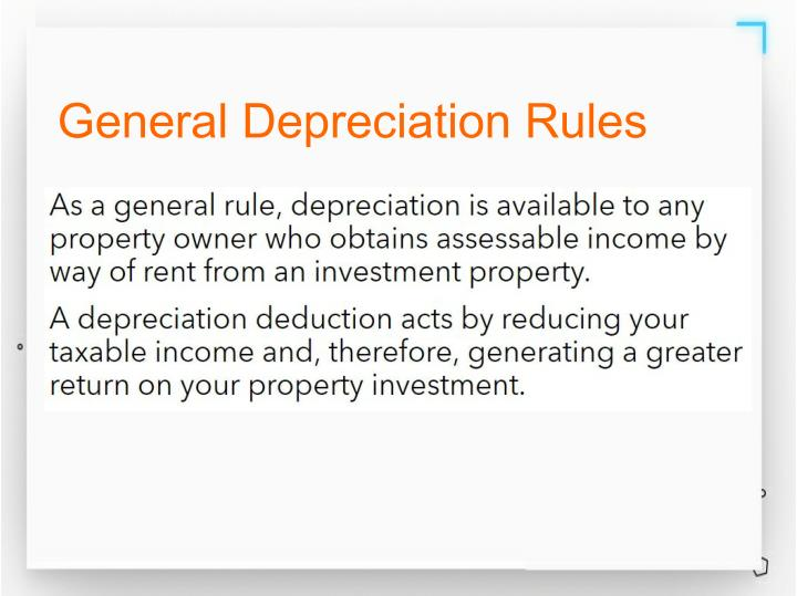General Depreciation Rules