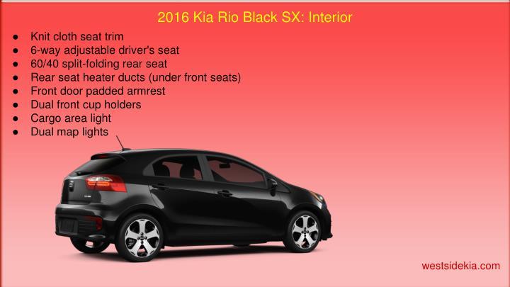 2016 Kia Rio Black SX: Interior