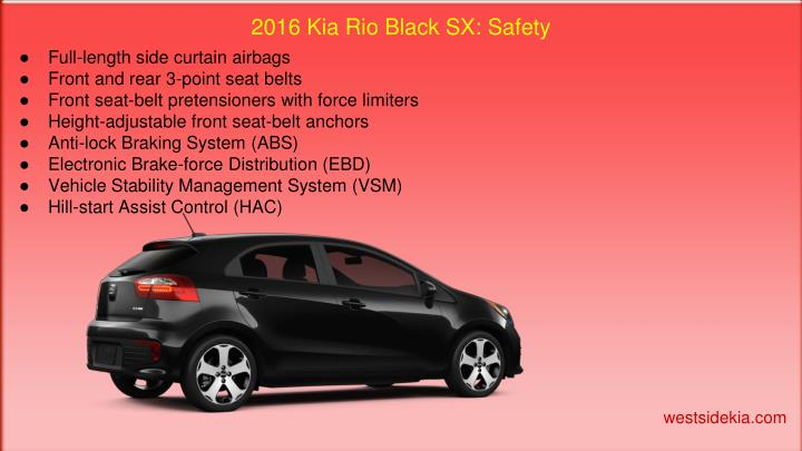 2016 Kia Rio Black SX: Safety