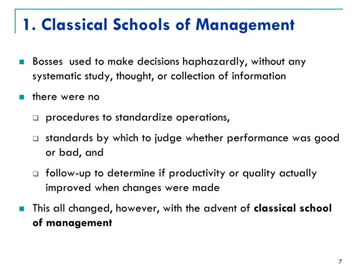 1. Classical Schools of Management