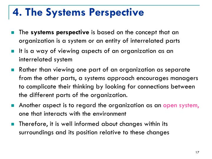 4. The Systems Perspective