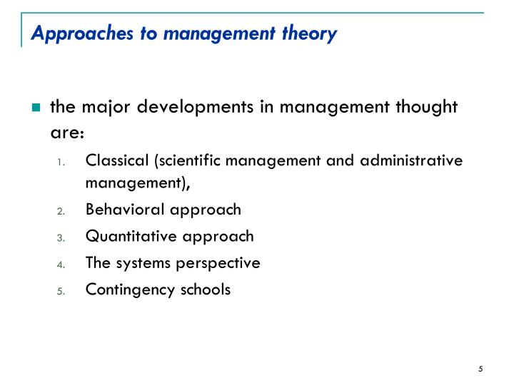Approaches to management theory