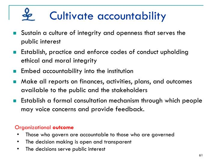 Cultivate accountability
