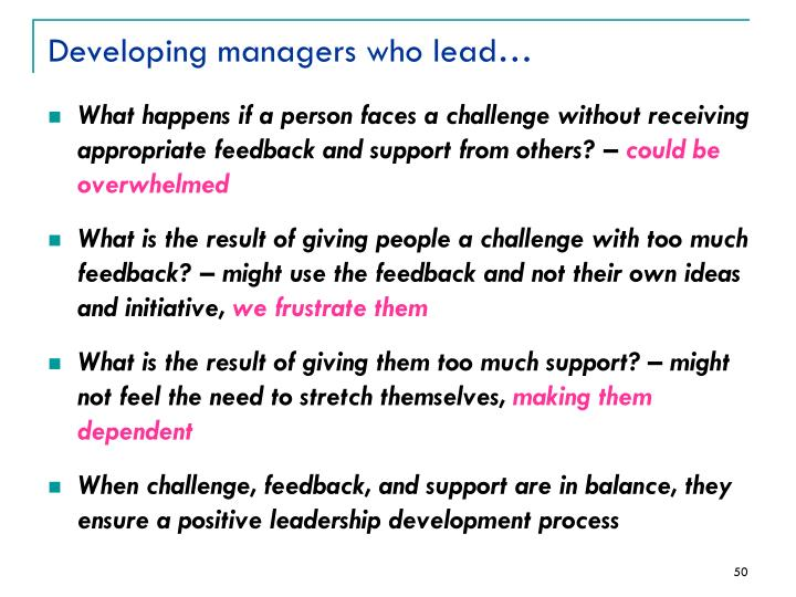 Developing managers who