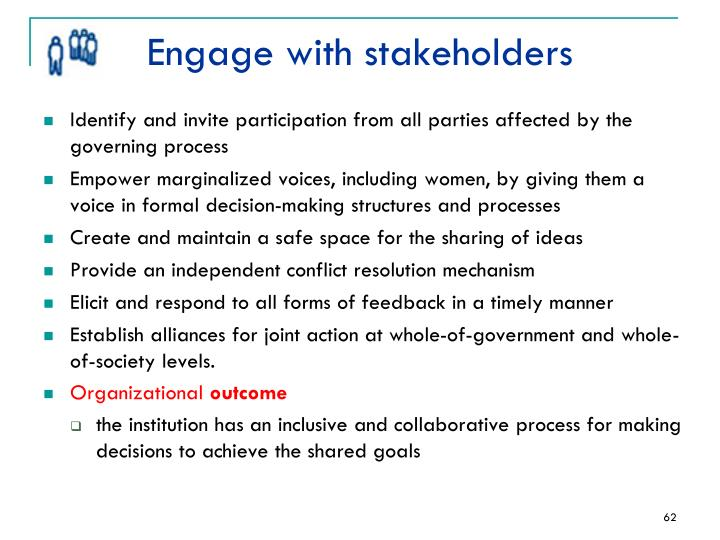 Engage with stakeholders
