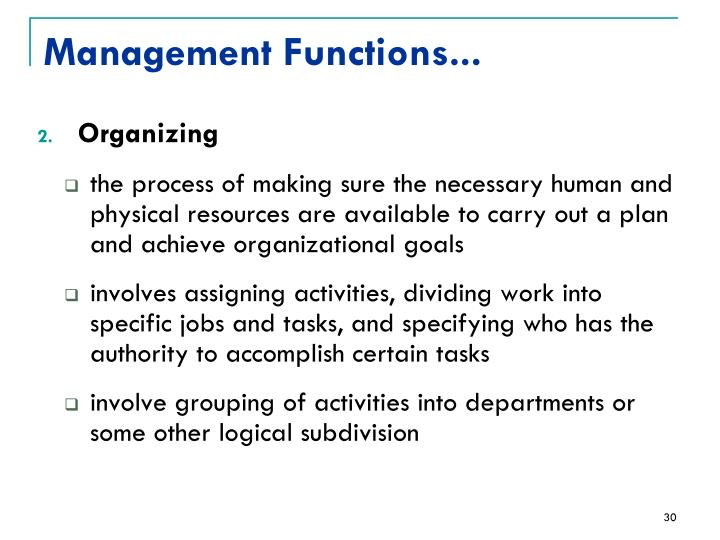 Management Functions...