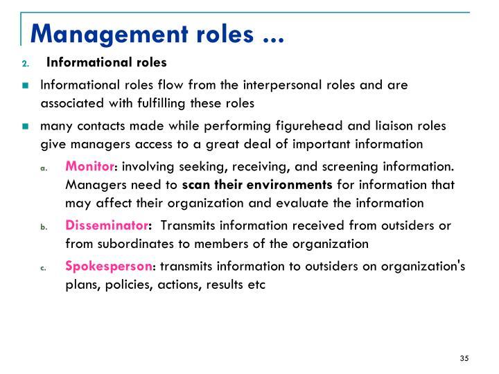 Management roles ...