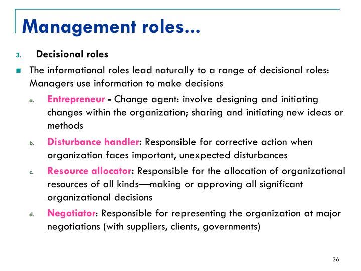 Management roles...