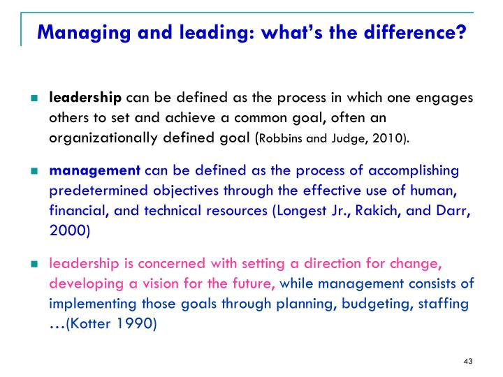 Managing and leading: what's the difference?