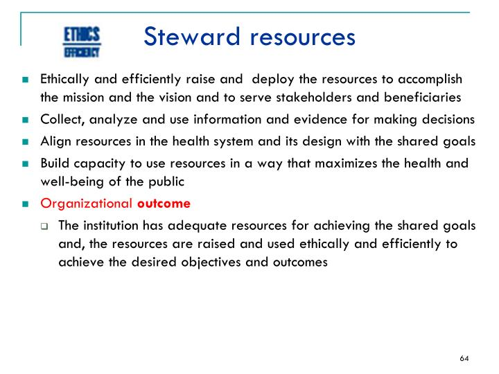 Steward resources