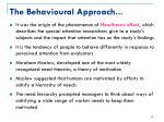 the behavioural approach1