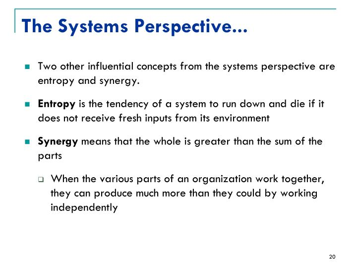 The Systems Perspective...