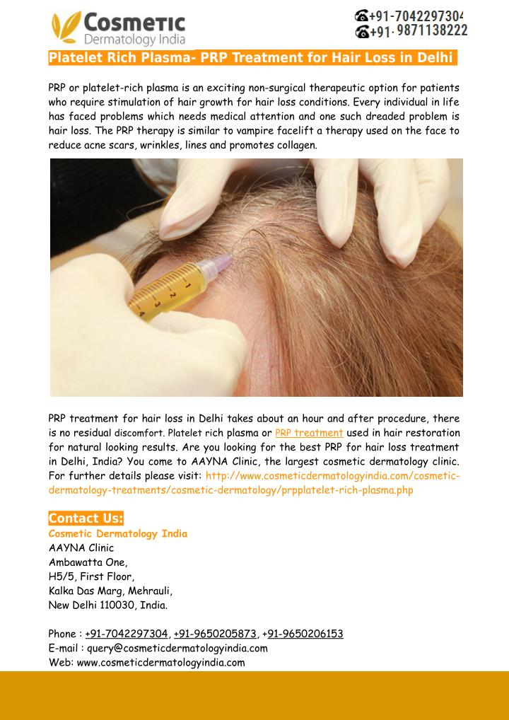 Platelet Rich Plasma- PRP Treatment for Hair Loss in Delhi
