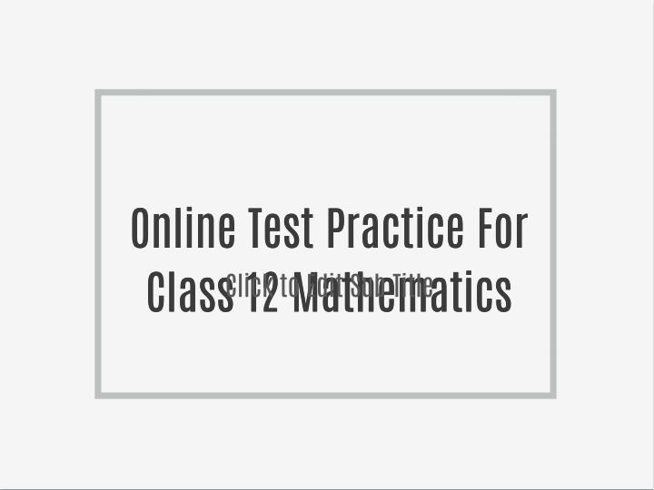 Online Test Practice For