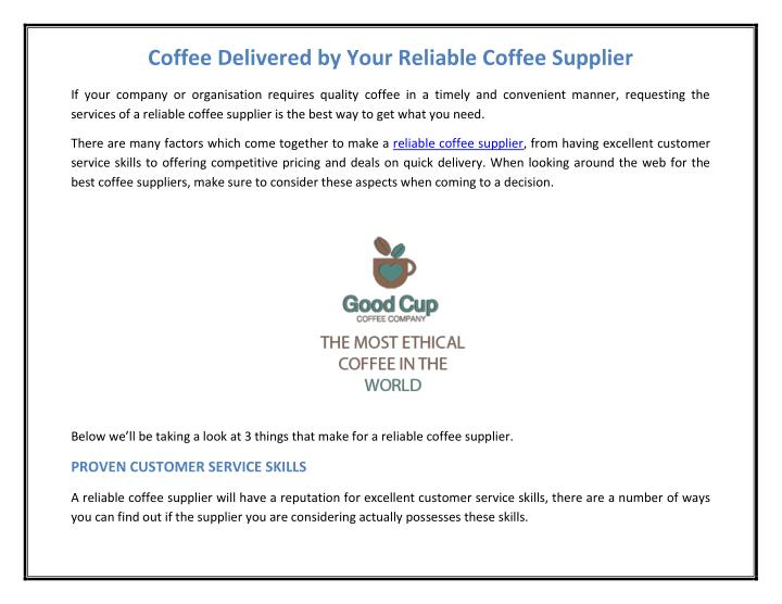 Coffee Delivered by Your Reliable Coffee Supplier