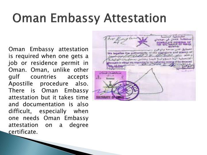 Oman Embassy Attestation