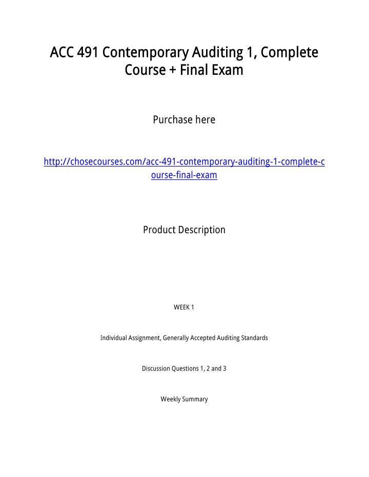 ACC 491 Contemporary Auditing 1, Complete