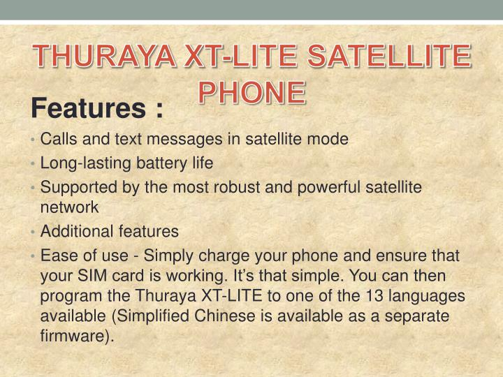 THURAYA XT-LITE SATELLITE