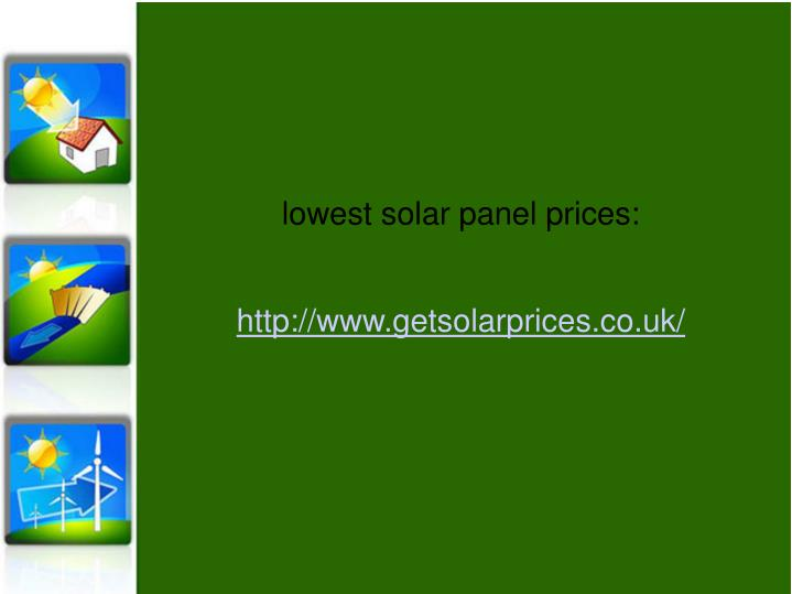 lowest solar panel prices: