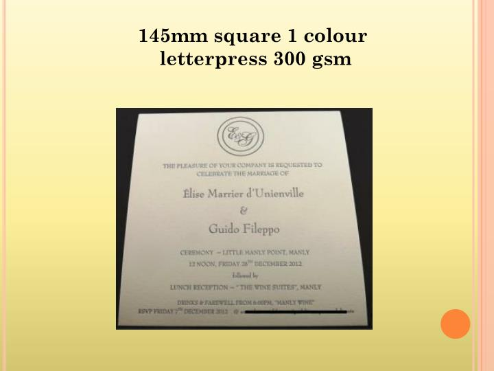 145mm square 1 colour