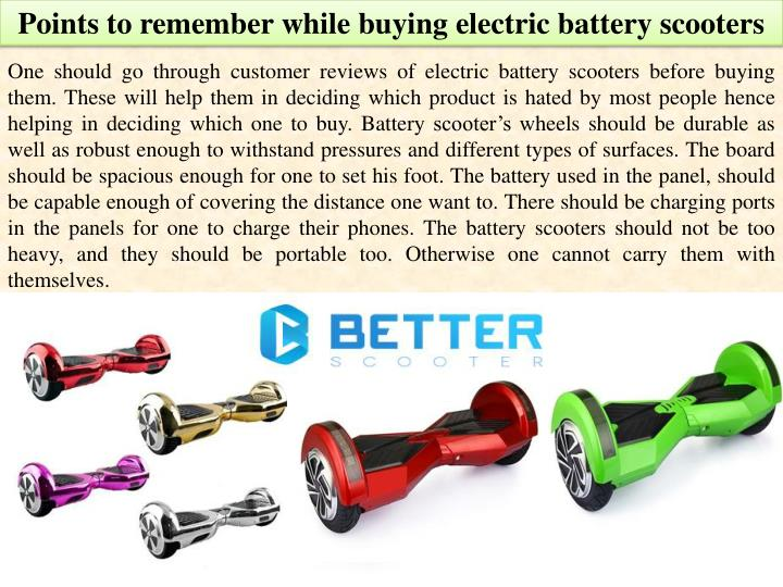 Points to remember while buying electric battery scooters