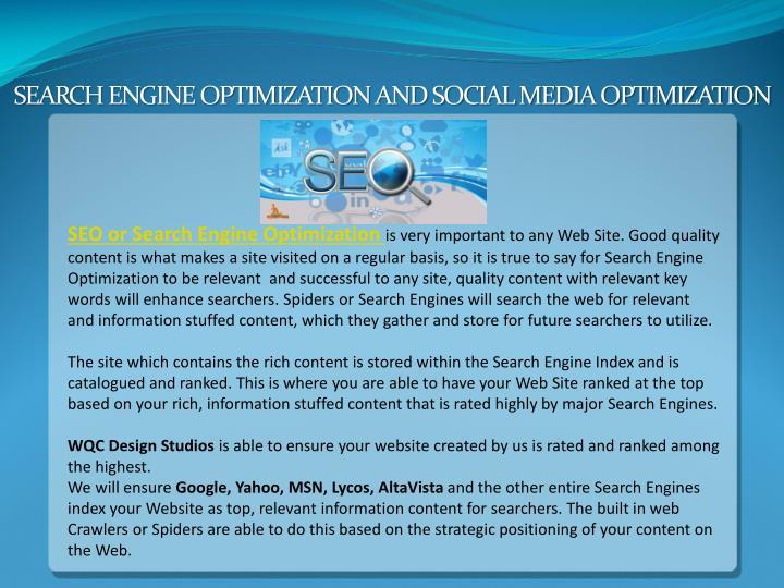 SEARCH ENGINE OPTIMIZATION AND SOCIAL MEDIA OPTIMIZATION