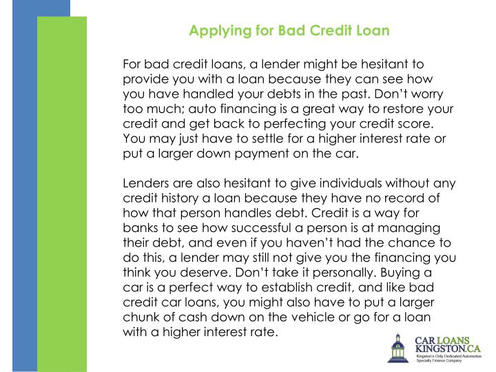 Applying for Bad Credit Loan