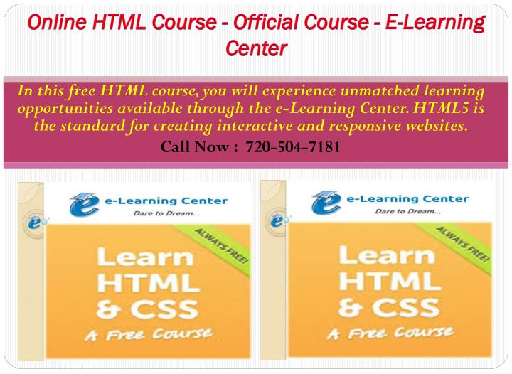 Online HTML Course - Official Course - E-Learning Center