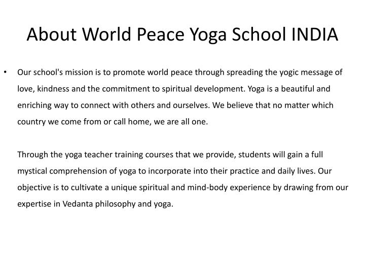 About World Peace Yoga School INDIA