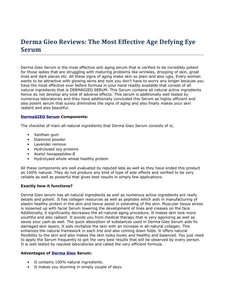 Derma Gieo Reviews: The Most Effective Age Defying Eye