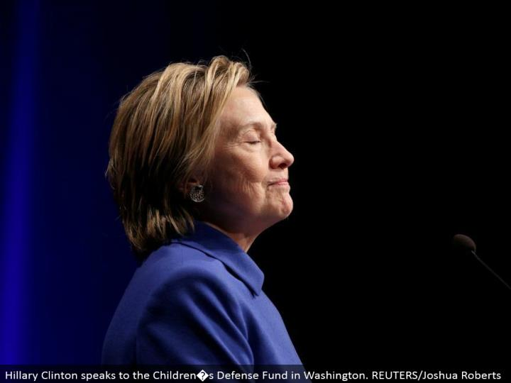 Hillary Clinton addresses the Children�s Defense Fund in Washington. REUTERS/Joshua Roberts