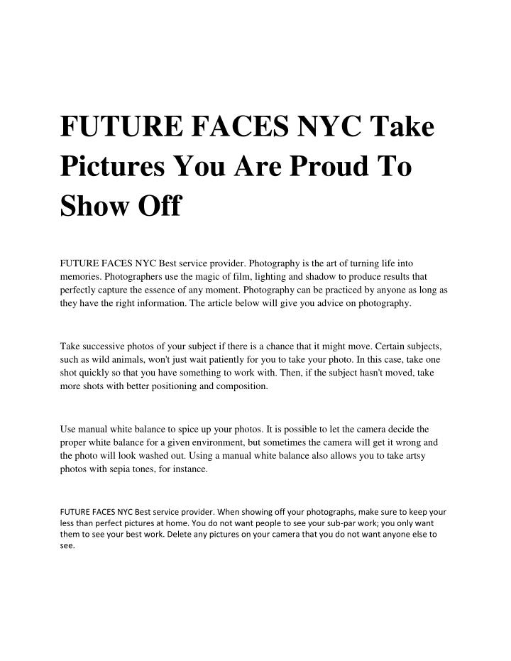 FUTURE FACES NYC Take