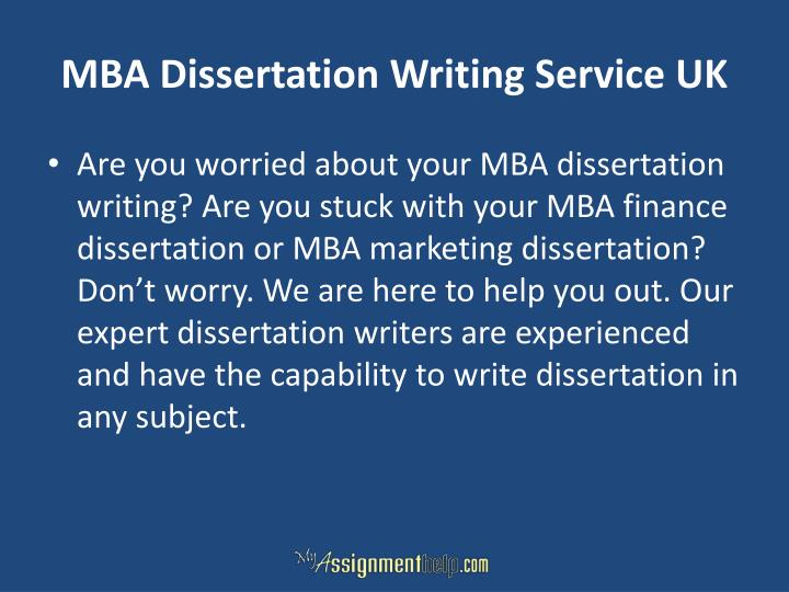 MBA Dissertation Writing Service UK
