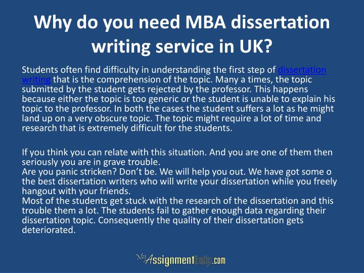 Why do you need MBA dissertation writing service in UK?