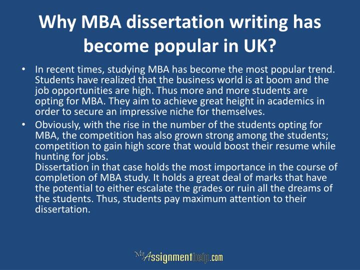 Why MBA dissertation writing has become popular in UK?