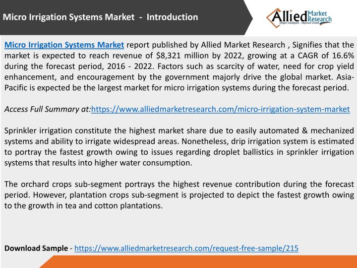 Micro Irrigation Systems Market - Introduction