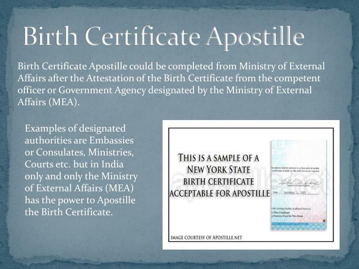 Birth Certificate Apostille