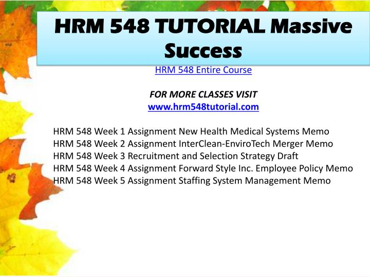 HRM 548 TUTORIAL Massive Success