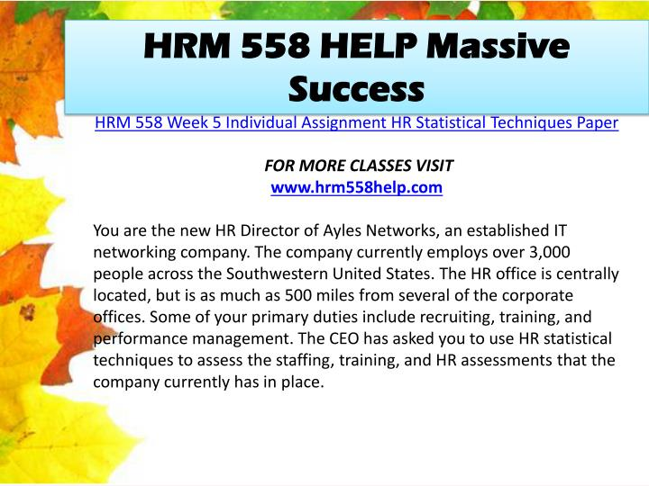 HRM 558 HELP Massive Success