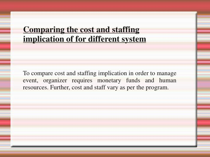 To compare cost and staffing implication in order to manage event, organizer requires monetary funds and human resources. Further, cost and staff vary as per the program.