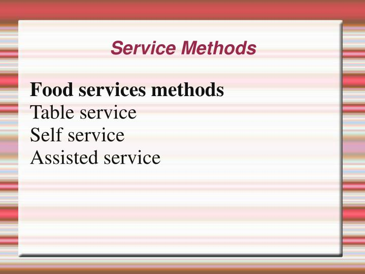 Food services methods