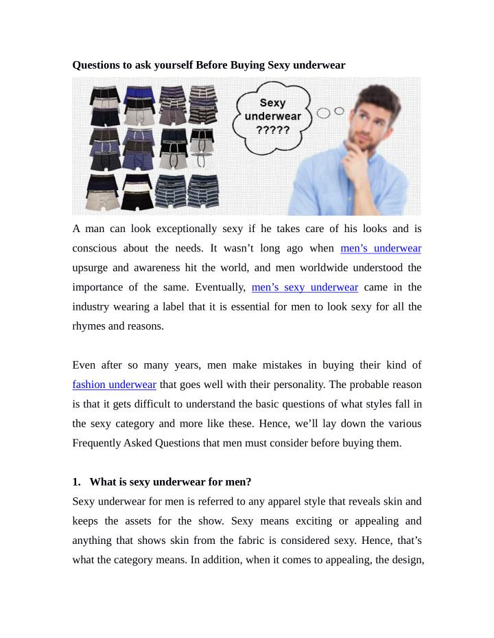 Questions to ask yourself Before Buying Sexy underwear