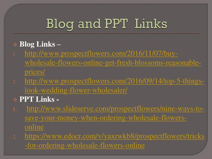 Blog and PPT  Links