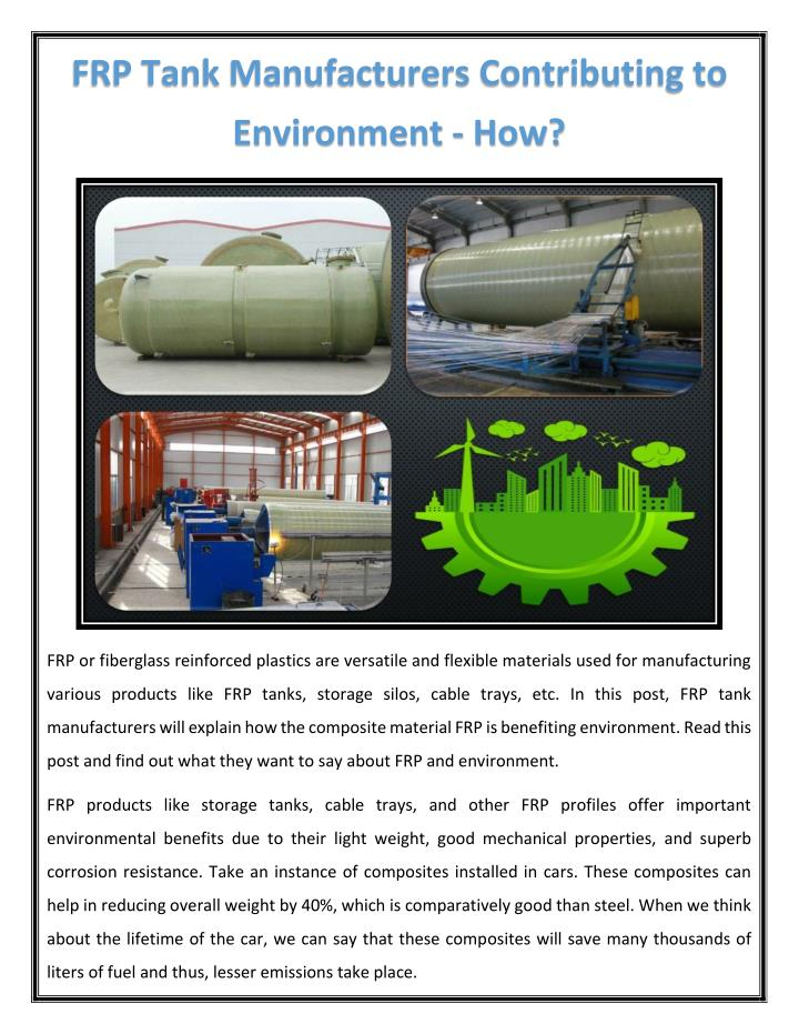 FRP Tank Manufacturers Contributing to